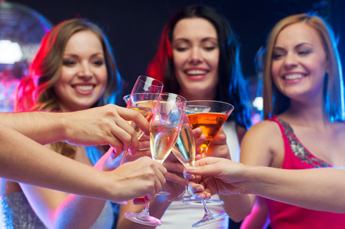 bachelorette party cheers at club