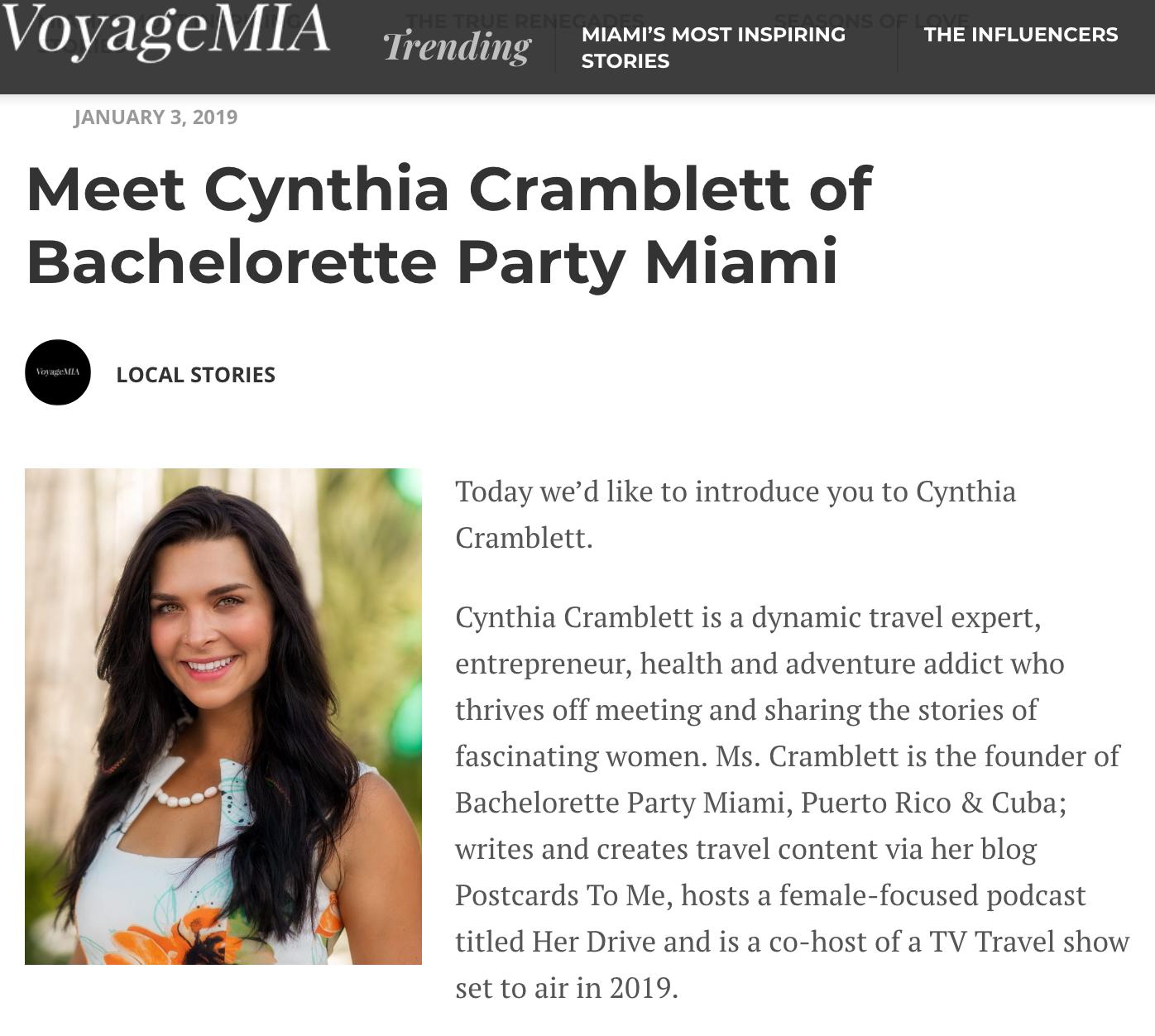 Voyage MIA Cynthia Cramblett